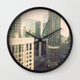 Chicago River Marina Tower Color Photo Wall Clock