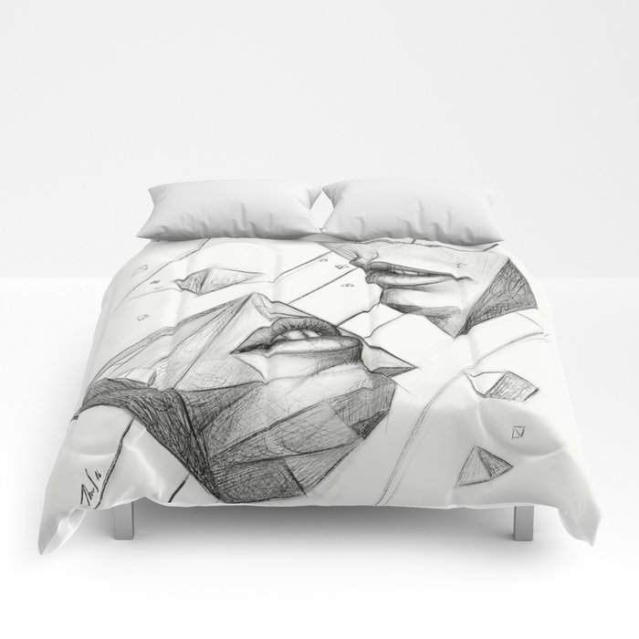 Surreal Geometry Shapes Comforters By Thubakabra Society6 - Geometrical-shapes-on-bedding