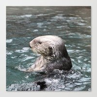 otter Canvas Prints featuring Otter by RMK Photography