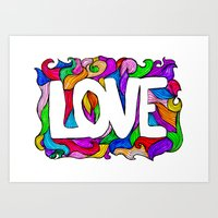 Love hand lettering and doodles elements sketch background. Watercolor style with waves background Art Print