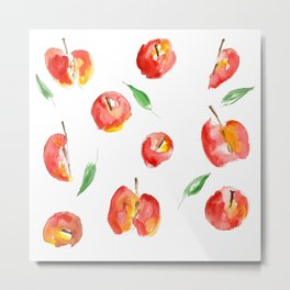 Watercolor Apples Metal Print