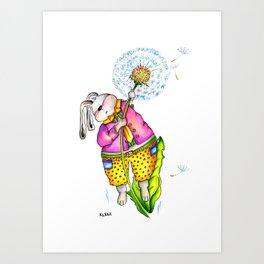 Funny rabbit with dandelion. Flying rabbit Art Print