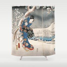 Japanese Vintage Kunisada Hiroshige Snowy Landscape Shower Curtain