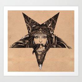 Lady of the Dark Star (coffee) Art Print