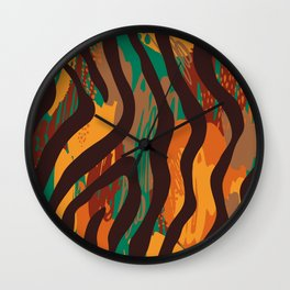 Brown orange green geometric ethnic zebra animal print Wall Clock