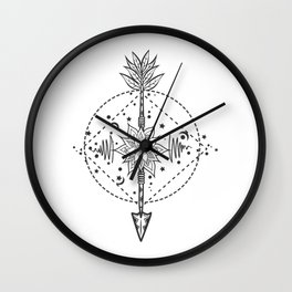 Modern tattoo flash flower with arrow. Art festival poster with star and moon Wall Clock