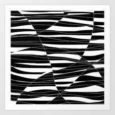 Carved Black and White Wave Art Print