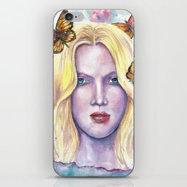 Women face Butterfly abstract print iPhone Skin