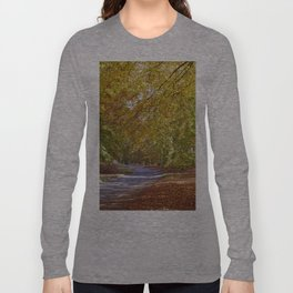 Remote country road through Autumnal woodland. Norfolk, UK. Long Sleeve T-shirt