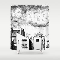 buildings Shower Curtains featuring Buildings by Giuseppe Vassallo