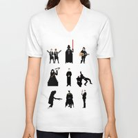 men V-neck T-shirts featuring Men in Black by Eric Fan