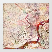 philadelphia Canvas Prints featuring Philadelphia by MapMapMaps.Watercolors