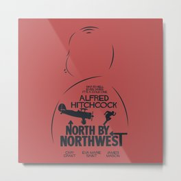 North by Northwest, Alfred Hitchcock, minimal movie poster, classic film, Cary Grant, alternative Metal Print