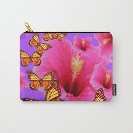 DECORATIVE MONARCH BUTTERFLIES  PINK HIBISCUS   PURPLE ART Carry-All Pouch
