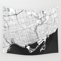 toronto Wall Tapestries featuring Toronto Map Gray by City Art Posters