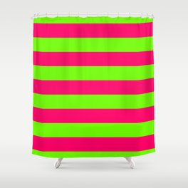 Bright Neon Green and Pink Horizontal Cabana Tent Stripes Shower Curtain