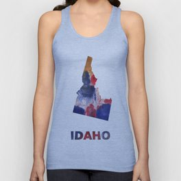 Idaho map outline Red blue brown watercolor painting Unisex Tank Top