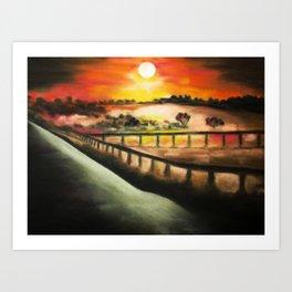 running at dusk 1 Art Print