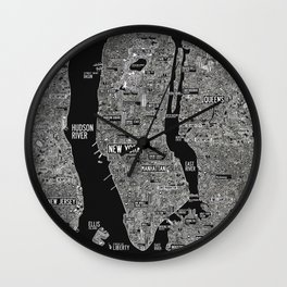 Cool New York city map with street signs Wall Clock