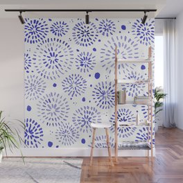 Abstract watercolor sparkles – blue Wall Mural