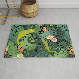 Chameleons And Salamanders In The Jungle Pattern Rug