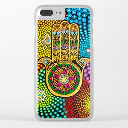 Hamsa Hand, hand of fatima, mandala, yoga art, mandala art, meditation art Clear iPhone Case