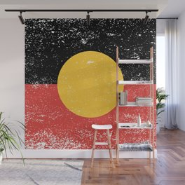 Australian Aboriginal Grunge Flag Wall Mural