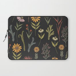 flat lay floral pattern on a dark background Laptop Sleeve