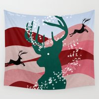 merry christmas Wall Tapestries featuring merry christmas by mark ashkenazi