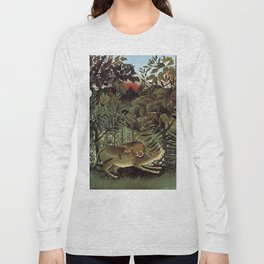 THE HUNGRY LION ATTACKING AN ANTELOPE - ROUSSEAU Long Sleeve T-shirt