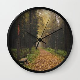 Autumn path and bench Wall Clock