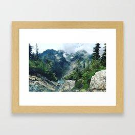 Mountain through the clouds Framed Art Print