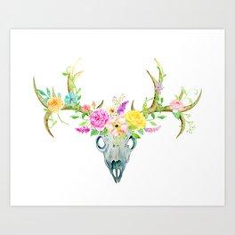 Watercolor Deer Skull Rose Bouquet Art Print