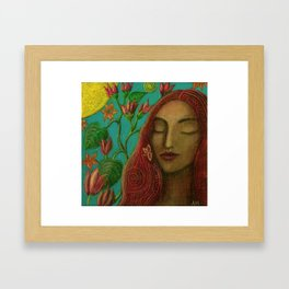 Sun and Flowers Framed Art Print