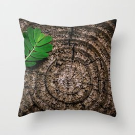 Green leaf Brown wood Throw Pillow