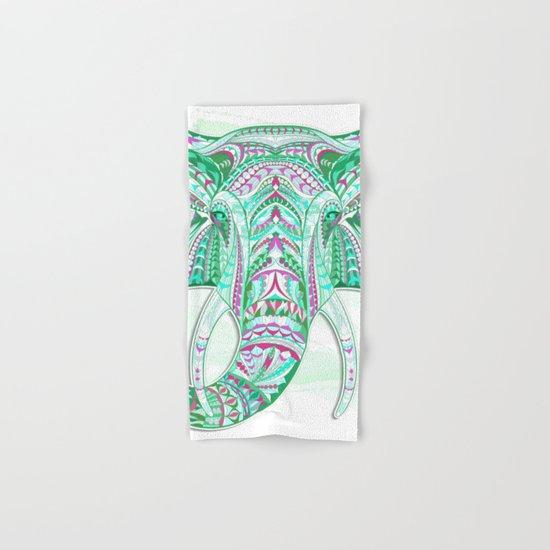 Sea Green Ethnic Elephant Hand & Bath Towel