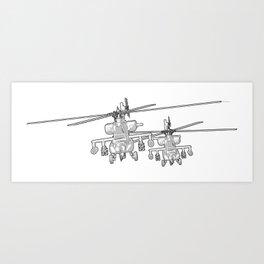Apache's flying Toon Render Art Print