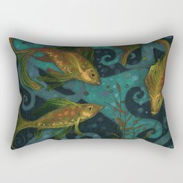 Golden Fish, Black Teal, Underwater Art Rectangular Pillow