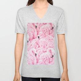 Elegant blush pink flamingo tropical bird pattern Unisex V-Neck