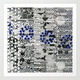 Nagging Little Virtual Elements (P/D3 Glitch Collage Studies) Art Print