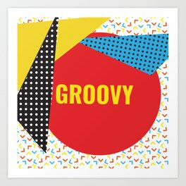 Groovy Memphis Throwback Colorful Retro 1990s 80s Trendy Hipster Pattern Art Print
