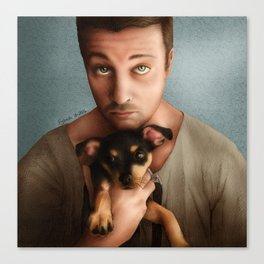 Dan Feuerriegel & Teddy the Puppy Canvas Print