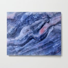 Blue watercolor marble Metal Print