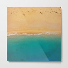 turquoise ocean wave sandy beach Metal Print