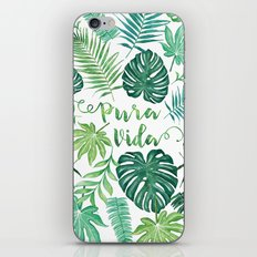 Tropical Pura Vida Palm Leaves and Monstera Watercolor iPhone & iPod Skin