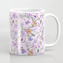 flowers and leaves on pink background . ( https://society6.com/simpledoodles/collection ) Coffee Mug