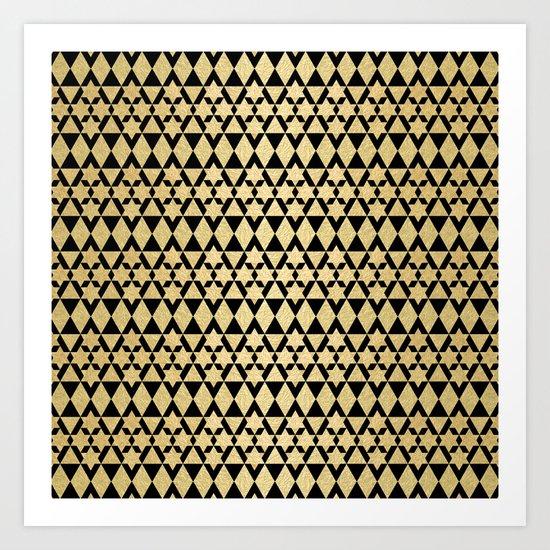 Black and Gold Geometric Pattern 4 Art Print