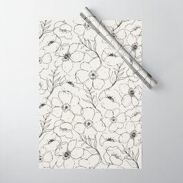Floral Simplicity - Neutral Black Wrapping Paper