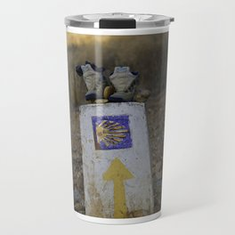 Camino Route Marker and Old Boots Travel Mug