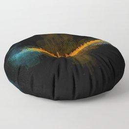 Vancouver Canada City Skyline Hq v04 dark Floor Pillow